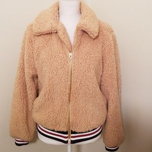 Forever21 camel teddy jacket size Small